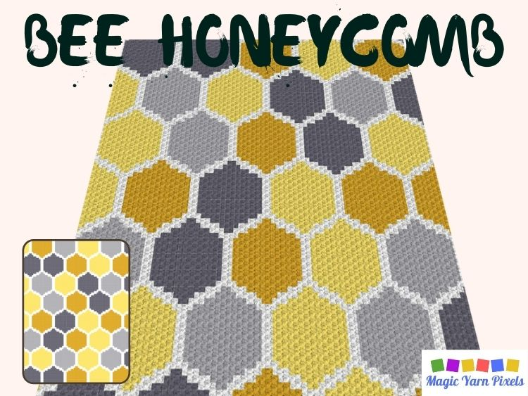 BLOG PREVIEW POSTER - Bee Honeycomb C2C Graph & Pattern by Magic Yarn Pixels