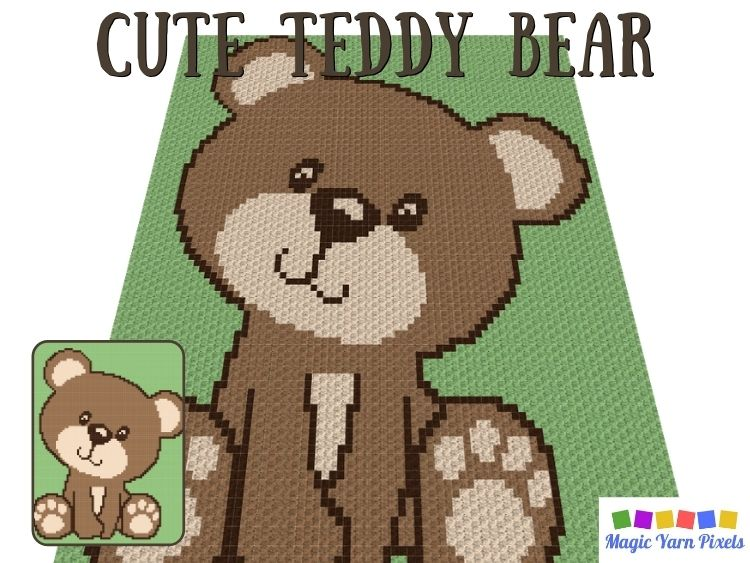 BLOG PREVIEW POSTER - Cute Teddy Bear C2C Graph by Magic Yarn Pixels