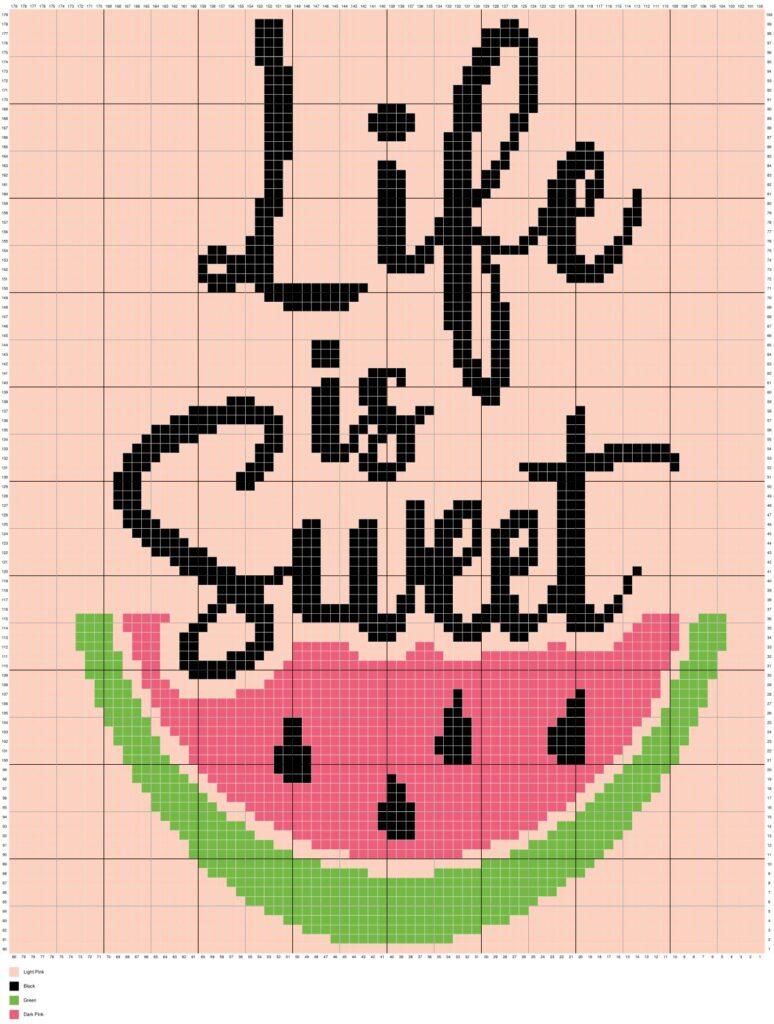 Life Is Sweet Watermelon by Magic Yarn Pixels