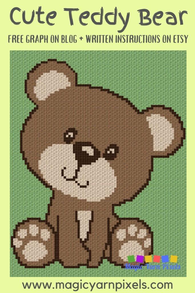MAIN BLOG PIN - Cute Teddy Bear Graph | Magic Yarn Pixels