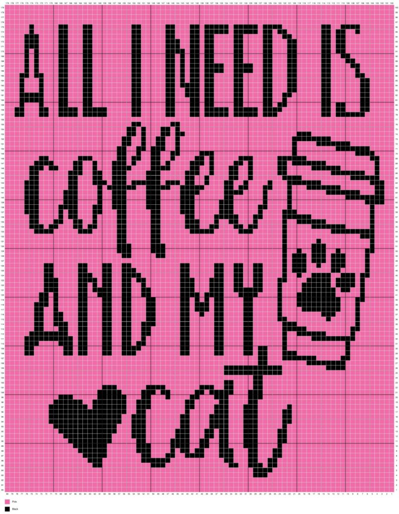 All I Need Is Coffee and My Cat by Magic Yarn Pixels