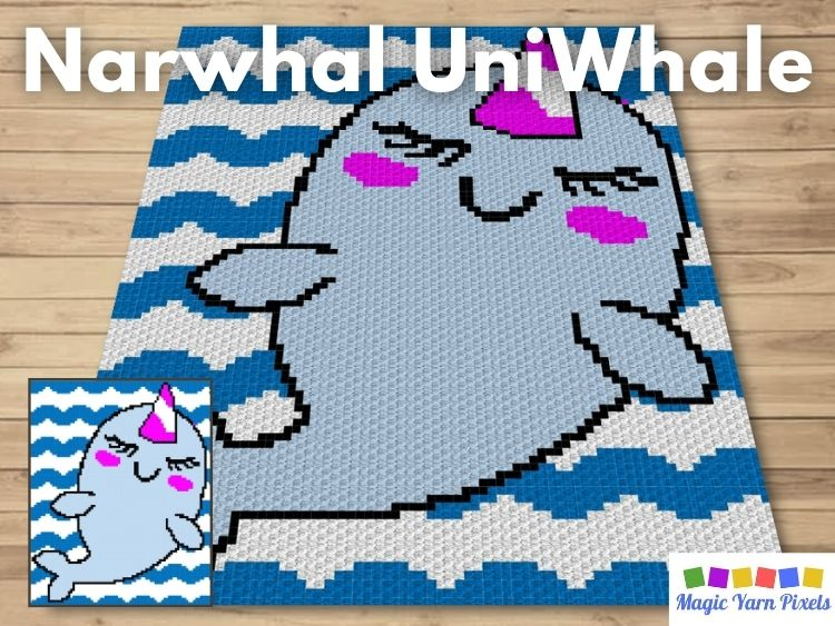 BLOG PREVIEW POSTER - Narwhal UniWhale | Magic Yarn Pixels