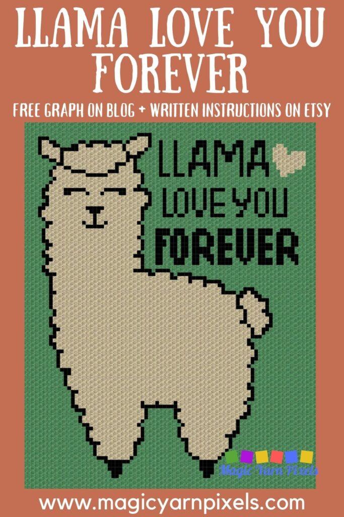 MAIN BLOG PIN - Llama Love You Forever Free Graph | Magic Yarn Pixels
