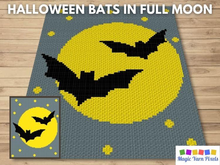 BLOG PREVIEW POSTER - Halloween Bats In Full Moon