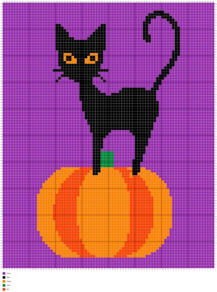 Halloween Black Cat On Pumpkin by Magic Yarn Pixels