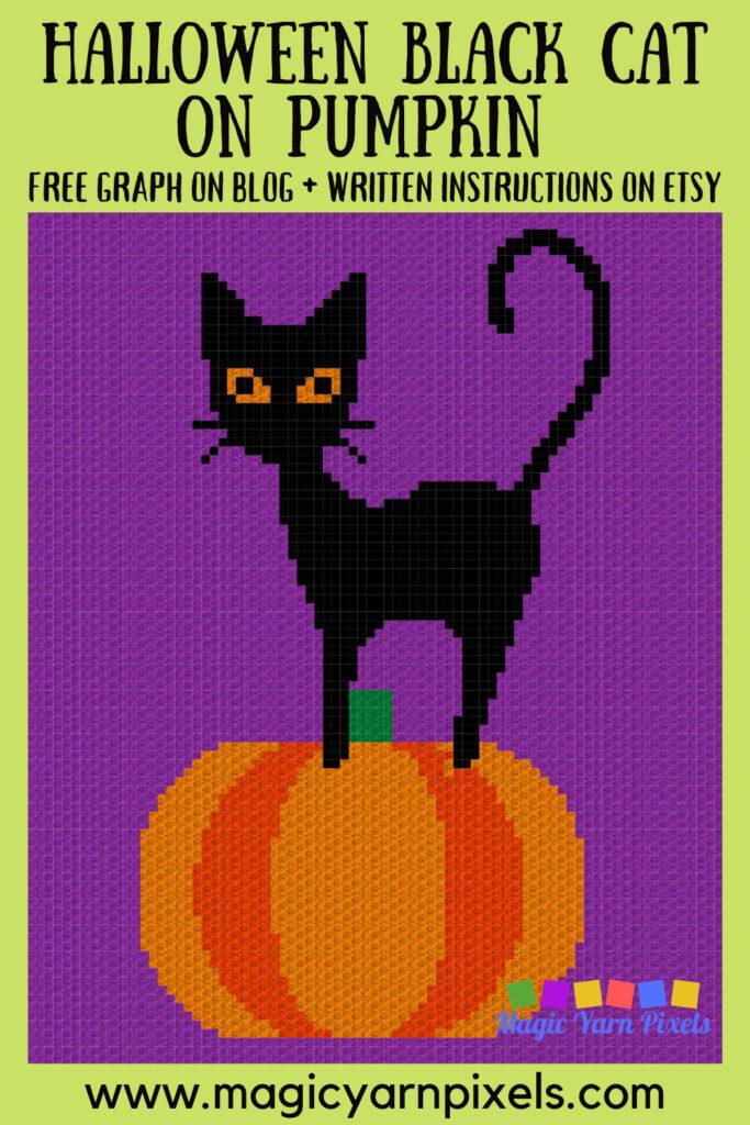MAIN BLOG PIN - Halloween Black Cat On Pumpkin Magic Yarn Pixels