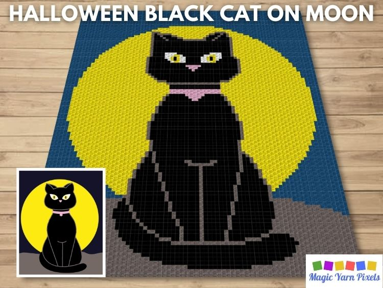 BLOG PREVIEW POSTER - Halloween Black Cat On Moon