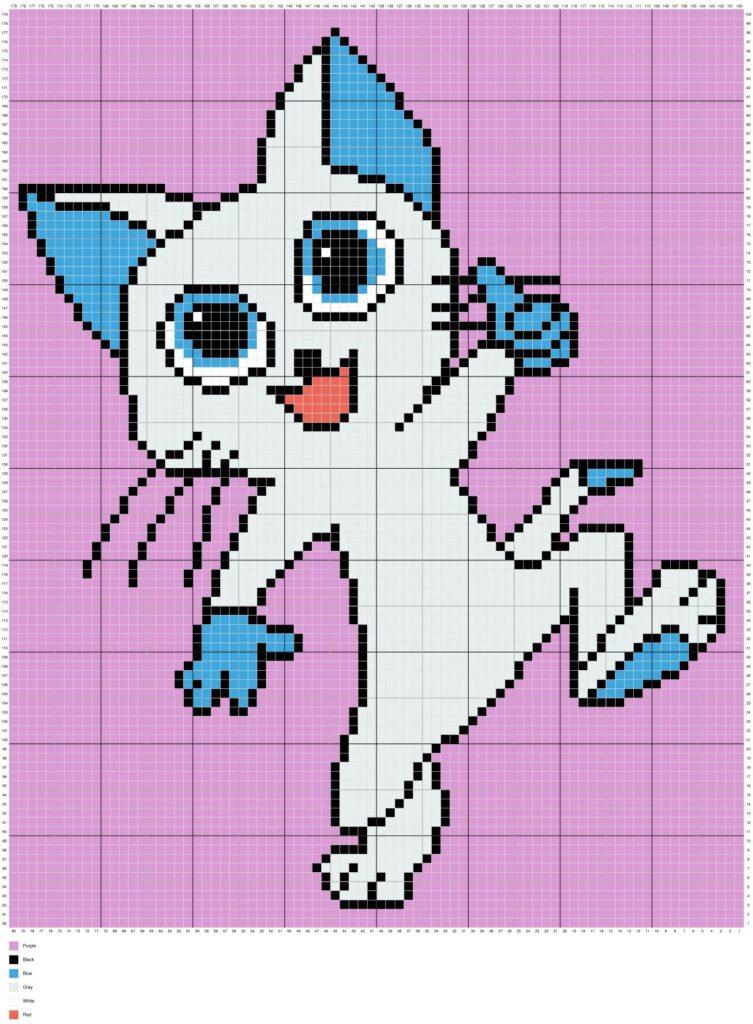 Happy Kitty Cat By Magic Yarn Pixels