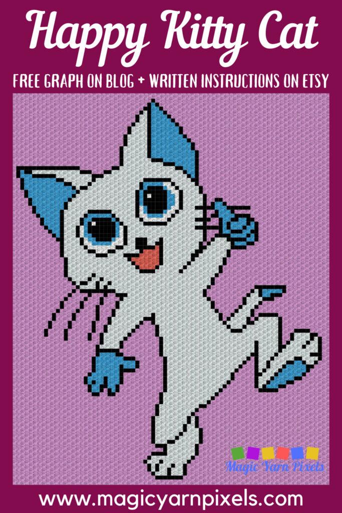 MAIN BLOG PIN - Happy Kitty Cat | Magic Yarn Pixels