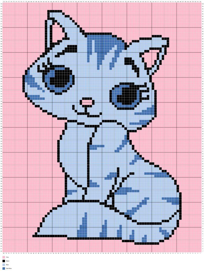 Cute Kitty Cat By Magic Yarn Pixels