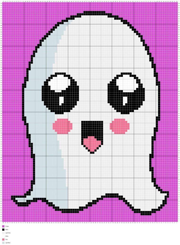 Happy Halloween Ghost By Magic Yarn Pixels