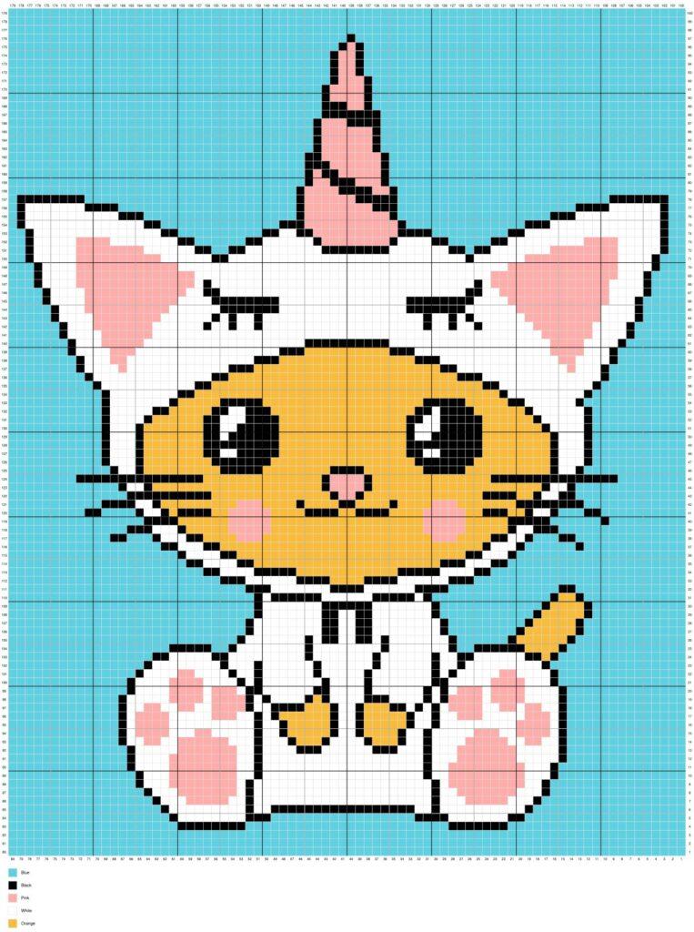 Kawaii Caticorn Unicat By Magic Yarn Pixels