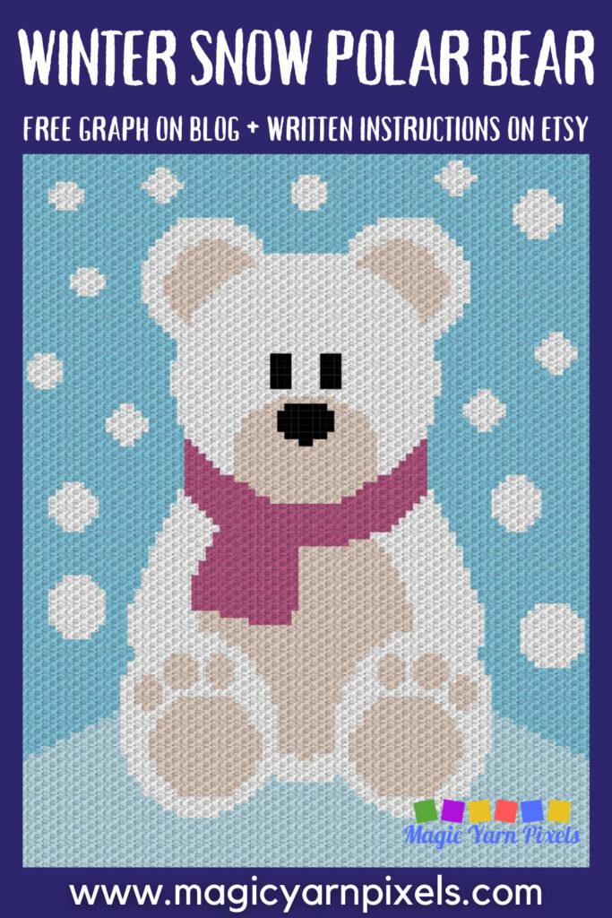 MAIN BLOG PIN - Winter Snow Polar Bear Magic Yarn Pixels