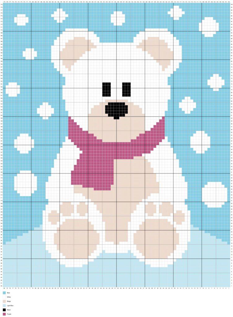 Winter Snow Polar Bear By Magic Yarn Pixels